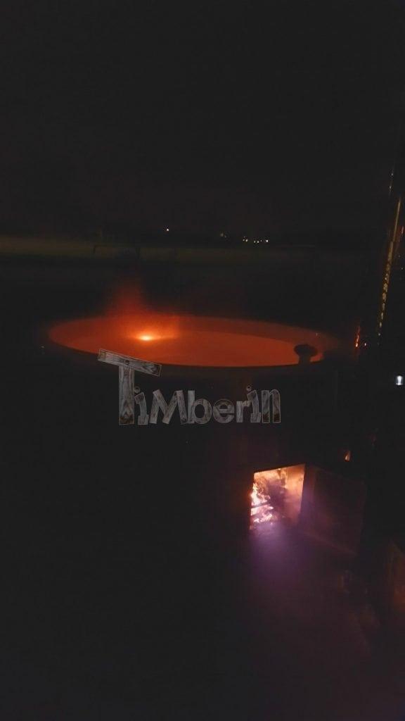 Hottub Fiberglas Met Geïntegreerde Kachel Thermohout Wellness Royal, Marcel, Batenburg, Netherland